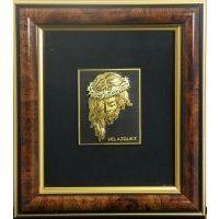 Framed Portrait of Jesus Christ crafted in Gold Damascene by Midas of Toledo Spain Style 4619-1JESUS