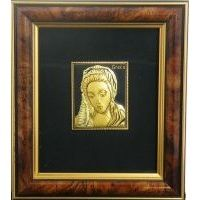 Framed Portrait of the Blessed Virgin Mary crafted in Gold Damascene by Midas of Toledo Spain Style 4619-2MARY