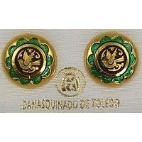 Gold Damascene with Green Enamel Holy Spirit Dove Design Round Stud Christmas Earrings by Midas of Toledo Spain style 8119-1Dove