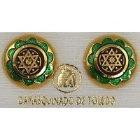 Gold Damascene with Green Enamel Star of David Design Round Stud Christmas Earrings by Midas of Toledo Spain style 8119-1SOD