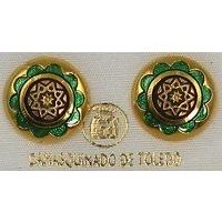 Gold Damascene with Green Enamel Star of Redemption Design Round Stud Christmas Earrings by Midas of Toledo Spain style 8119-1StarR