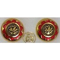 Gold Damascene with Red Enamel Holy Spirit Dove Design Round Stud Christmas Earrings by Midas of Toledo Spain style 8119Dove