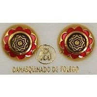 Gold Damascene with Red Enamel Star of Redemption Design Round Stud Christmas Earrings by Midas of Toledo Spain style 8119StarR