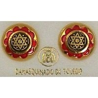 Gold Damascene with Red Enamel Star of David Design Round Stud Christmas Earrings by Midas of Toledo Spain style 8119SOD