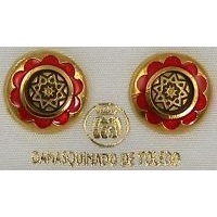 Gold Damascene with Red Enamel Star Design Round Stud Christmas Earrings by Midas of Toledo Spain style 8119Star