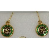 Gold Damascene with Green Enamel Holy Spirit Dove Design Round Drop Christmas Earrings by Midas of Toledo Spain style 8120-1Dove
