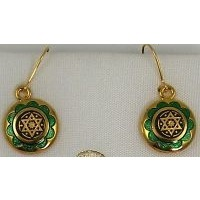 Gold Damascene with Green Enamel Star of David Design Round Drop Christmas Earrings by Midas of Toledo Spain style 8120-1SOD