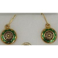 Gold Damascene with Green Enamel Star of Redemption Design Round Drop Christmas Earrings by Midas of Toledo Spain style 8120-1Star