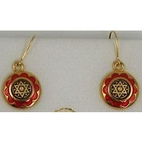 Gold Damascene with Red Enamel Star of David Design Round Drop Christmas Earrings by Midas of Toledo Spain style 8120SOD