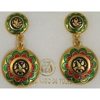 Gold Damascene with Red and Green Enamel Holy Spirit Dove Design Round Stud Drop Christmas Earrings by Midas of Toledo Spain style 8121-1Dove