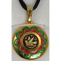 Damascene Gold and Red and Green Enamel Holy Spirit Dove Design Round Christmas Pendant on Cord Necklace by Midas of Toledo Spain style 8246-1Dove
