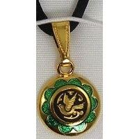 Damascene Gold and Green Enamel Holy Spirit Dove Design Round Christmas Pendant on Cord Necklace by Midas of Toledo Spain style 8247-1Dove